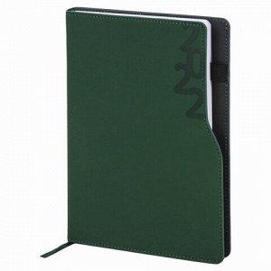 """Ежедневник датированный 2022 А5 138x213 мм BRAUBERG """"Up"""", под кожу, софт-тач, держатель для ручки, зеленый, 112804"""