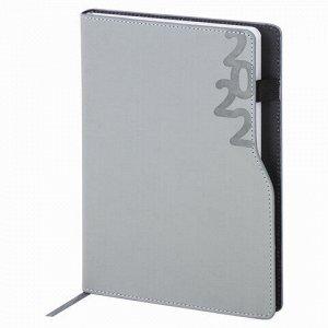 """Ежедневник датированный 2022 А5 138x213 мм BRAUBERG """"Up"""", под кожу, софт-тач, держатель для ручки, серый, 112807"""