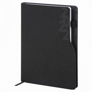 """Ежедневник датированный 2022 А5 138x213 мм BRAUBERG """"Up"""", под кожу, софт-тач, держатель для ручки, черный, 112803"""