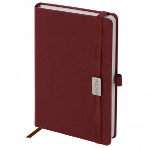 """Ежедневник датированный 2022 А5 138x213 мм BRAUBERG """"Control"""", под кожу, держатель для ручки, красный, 112811"""