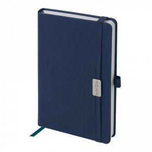 """Ежедневник датированный 2022 А5 138x213 мм BRAUBERG """"Control"""", под кожу, держатель для ручки, синий, 112808"""