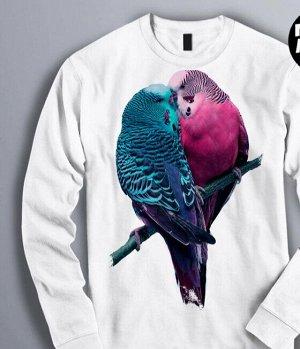 Свитшот Влюбленные птички, цвет белый