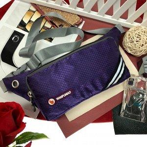 Поясная сумочка Esse Wan из текстиля аметистового цвета.