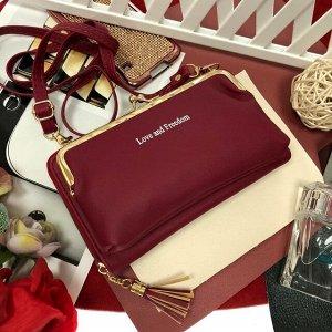 Театральная сумочка с кармашком на застёжке-поцелуйчике Mex_Roma сливового цвета.