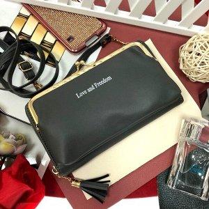 Театральная сумочка с кармашком на застёжке-поцелуйчике Mex_Roma графитового цвета.
