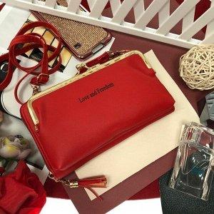 Театральная сумочка с кармашком на застёжке-поцелуйчике Mex_Roma рубинового цвета.