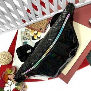 Поясная сумочка Jetem из эко-кожи серебристого чёрного цвета.