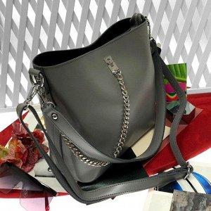Стильная сумочка Welizz с широким ремнем через плечо из натуральной кожи графитового цвета.