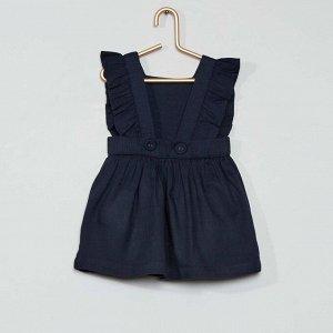 Комплект платье + шорты-шаровары из экологически чистого материала - голубой