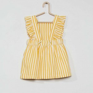 Комплект платье + шорты-шаровары из экологически чистого материала - желтый