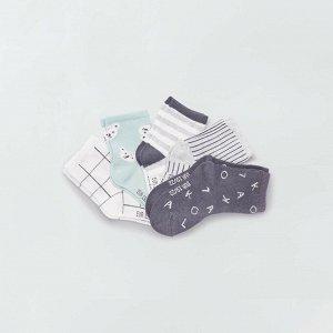 Комплект из 5 пар носков из экологически чистого материала - серый