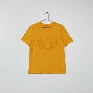Футболка Eco-conception с тисненой надписью - желтый