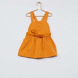Легкое платье с поясом - оранжевый