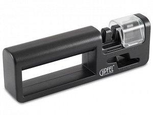 2924 GIPFEL Точило для ножей 19,5х3,5х6,5см с функцией заточки ножниц. Материал: керамика, карбид вольфрама, силикон, пластик.  Цвет: черный