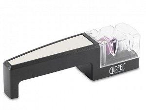 2925 GIPFEL Точило для ножей 17х4х4,5см. Материал: керамика, нерж.сталь, пластик, силикон.  Цвет: черный