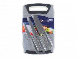 3258 GIPFEL Набор из 4 пр. (доска разделочная 32,5х20,4х1см, нож поварской, нож разделочный, нож универсальный). Материал: пластик, сталь 3Cr13.
