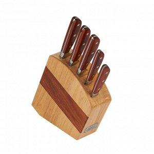 6967 GIPFEL Набор ножей BLICK из 6пр. на деревянной подставке. Материал лезвия: стальX30Cr13. Материал ручки: древеснослоистый пластик, нерж сталь