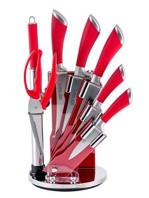 8447 GIPFEL Набор кухонных ножей MIRELLA 8 пр. на акриловой подставке. Материал лезвия: нерж. сталь 3CR13. Материал ручек: нерж. сталь, пластик. Цвет: красный