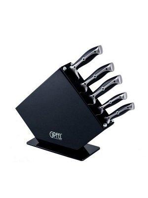 8449 GIPFEL Набор кухонных ножей 6 пр. на деревянной подставке. Материал лезвия: нерж. стальX30Cr13. Материал ручек: нерж. сталь, пластик. Цвет: черный.