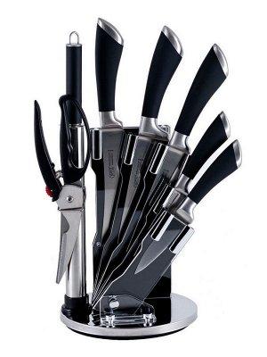 8454 GIPFEL Набор кухонных ножей MIRELLA 8 пр. на акриловой подставке. Материал лезвия: нерж. сталь 3CR13. Материал ручек: нерж. сталь, пластик. Цвет: черный