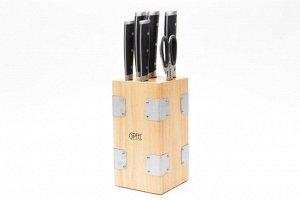 8469 GIPFEL Набор кухонных ножей 7 пр. на подставке. Материал лезвий: нерж. сталь X30Cr13. Материал ручек: нерж. сталь, пластик. Цвет ручек: черный