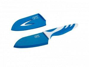 6748 GIPFEL Нож сантоку Rainbow 11 см в пластиковом чехле, с защитным покрытием, пластиковая ручка (нерж. сталь), 3 цвета в ассортименте