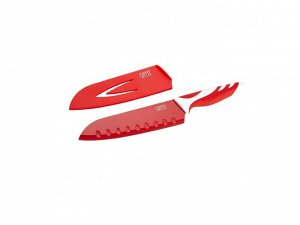 6784 GIPFEL Нож сантоку Rainbow 18 см в пластиковом чехле, с защитным покрытием, пластиковая ручка красная (нерж. сталь)