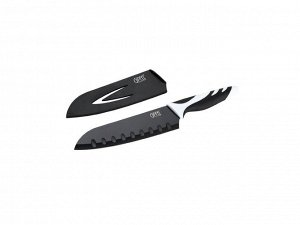 6785 GIPFEL Нож сантоку Rainbow 18 см в пластиковом чехле, с защитным покрытием, пластиковая ручка черная (нерж. сталь)