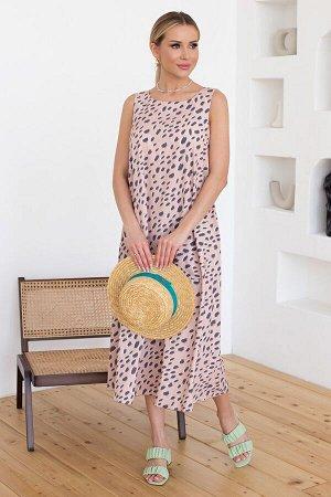 Платье Ненси №1.Цвет:бежевый/серый