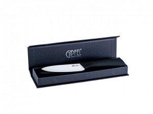 8462 GIPFEL Нож кухонный с керамическим лезвием 10,1см. Цвет лезвия: белый. Цвет ручки: черный.