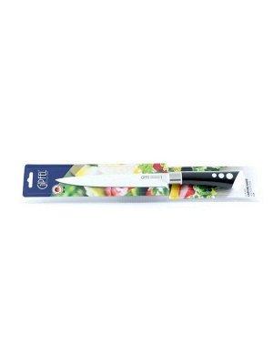 8474 GIPFEL Нож разделочный 20см. Материал лезвия: нерж. сталь 3CR13 с антиприлипающим покрытием. Материал ручки: пластик soft touch. Цвет лезвия: белый. Цвет ручки: черный