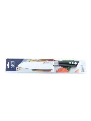8475 GIPFEL Нож поварской сантоку 18см. Материал лезвия: нерж. стальX30Cr13  с антиприлипающим покрытием. Материал ручки: пластик soft touch. Цвет лезвия: белый. Цвет ручки: черный