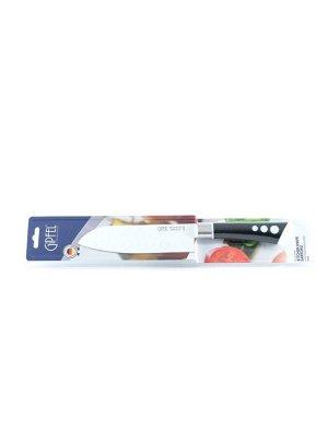 8476 GIPFEL Нож поварской сантоку 17см. Материал лезвия: нерж. сталь 3CR13 с антиприлипающим покрытием. Материал ручки: пластик soft touch. Цвет лезвия: белый. Цвет ручки: черный