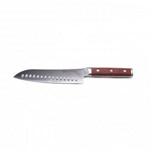 9859 GIPFEL Нож поварской сантоку GRIFO 18см. Материал лезвия: нерж. сталь 3Cr14. Материал ручки: дерево. Толщина: 2,3мм