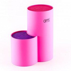 3710 GIPFEL Подставка для ножей 11х11х22см розовый и фиолетовый цвет Материал: PP с покрытием TPR