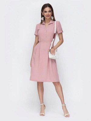 Платье Материал: Костюмная ткань; Состав: 65% полиэстер, 30% вискоза, 5% эластан; Растяжимость: нет Расклешенное платье с отложным воротником и прорезными карманами в боковых швах. Застегивается на мо