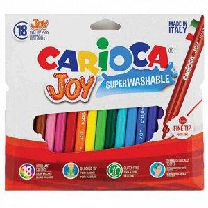 """Фломастеры CARIOCA (Италия) """"Joy"""" 18 цветов, суперсмываемые, вентилируемый колпачок, 40555"""