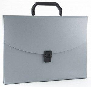 Портфель пластиковый A4 13 отделений 0,7мм серый Бюрократ