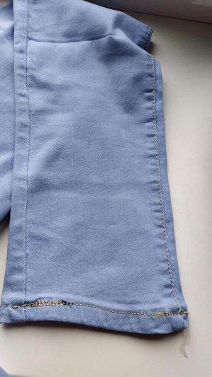 Джинсы Брк на коленке желтые полосы, в низу неправильная прострочка, доп фото