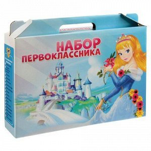 Набор первоклассника в подарочной упаковке 16 предметов ПЧЕЛКА Для девочек