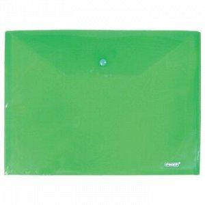 """Папка-конверт пластиковая на кнопке А4 Бюрократ/""""inФормат"""" зелен 180 мкм арт. РК6518G/PK803Agrn/10/"""