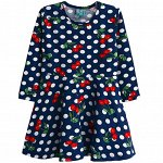 Платье для девочки, цвет темно-синий, принт вишня
