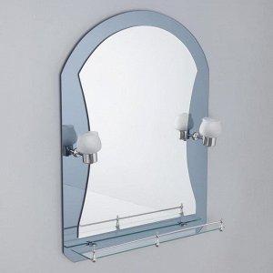 Зеркало в ванную комнату с подсветкой, двухслойное Ассоona, 80 ? 60 см, A610, 1 полка