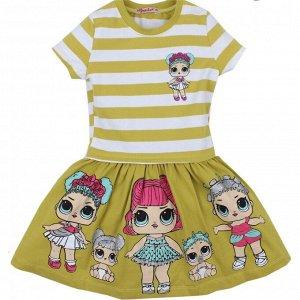 Платье для девочки D1175P оливковый