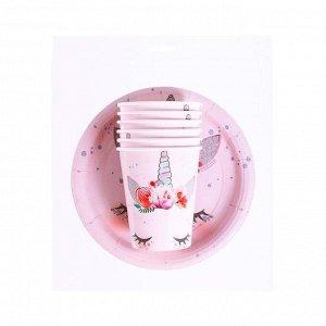 """Набор бумажной посуды """"Единорог Мордочка"""", 6 тарелок, 6 стаканов"""