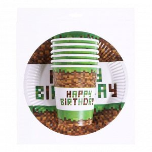 """Набор бумажной посуды """"Happy birthday!"""", 6 тарелок, 6 стаканов"""