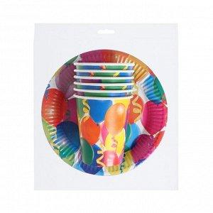 """Набор бумажной посуды """"Праздник"""" воздушные шары и серпантин, 6 стаканов, 6 тарелок"""