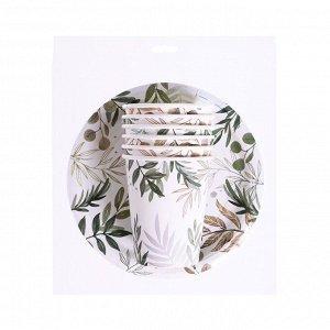 """Набор бумажной посуды """"Природа"""", 6 стаканов, 6 тарелок"""