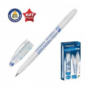 """Ручка шариковая масляная Pensan """"Global-21"""", чернила синие, корпус прозрачный, узел 0,5 мм, линия письма 0,3 мм"""
