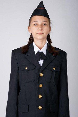 Пилотка форм. п/ш черн. для кадетов с красн. Кантом